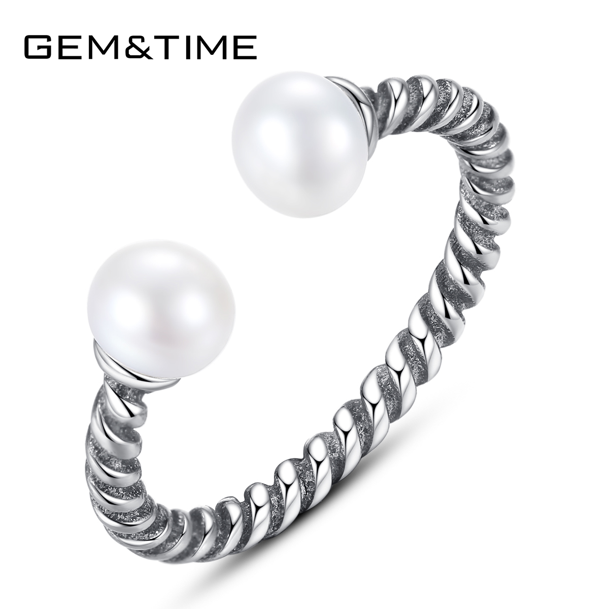Gem&Time New Vintage Freashwater Pearls Open Ring Pure 925 Sterling Silver Spiral Ring Charms Statement Finger Jewelry SR0128(China)