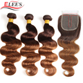 Ombre Body Wave Bundles With Closure Brazilian Human Hair Weave Bundles With T Lace Closure 4/30 Colored Remy Hair Extension