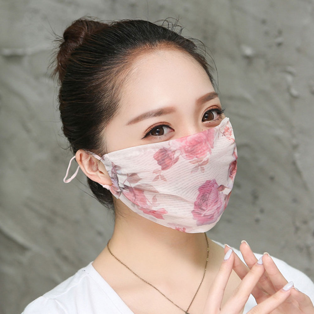 Women Floral Print Summer Mask Cover Chiffon Mouth-muffle Face Mask Anti-fog Dustproof Breathable Mouth Face Mask