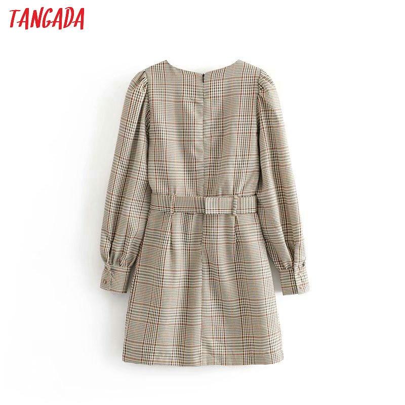 Tangada England fashion women plaid pattern dress with belt o neck Long Sleeve Ladies mini Dress Vestidos 6P17 5