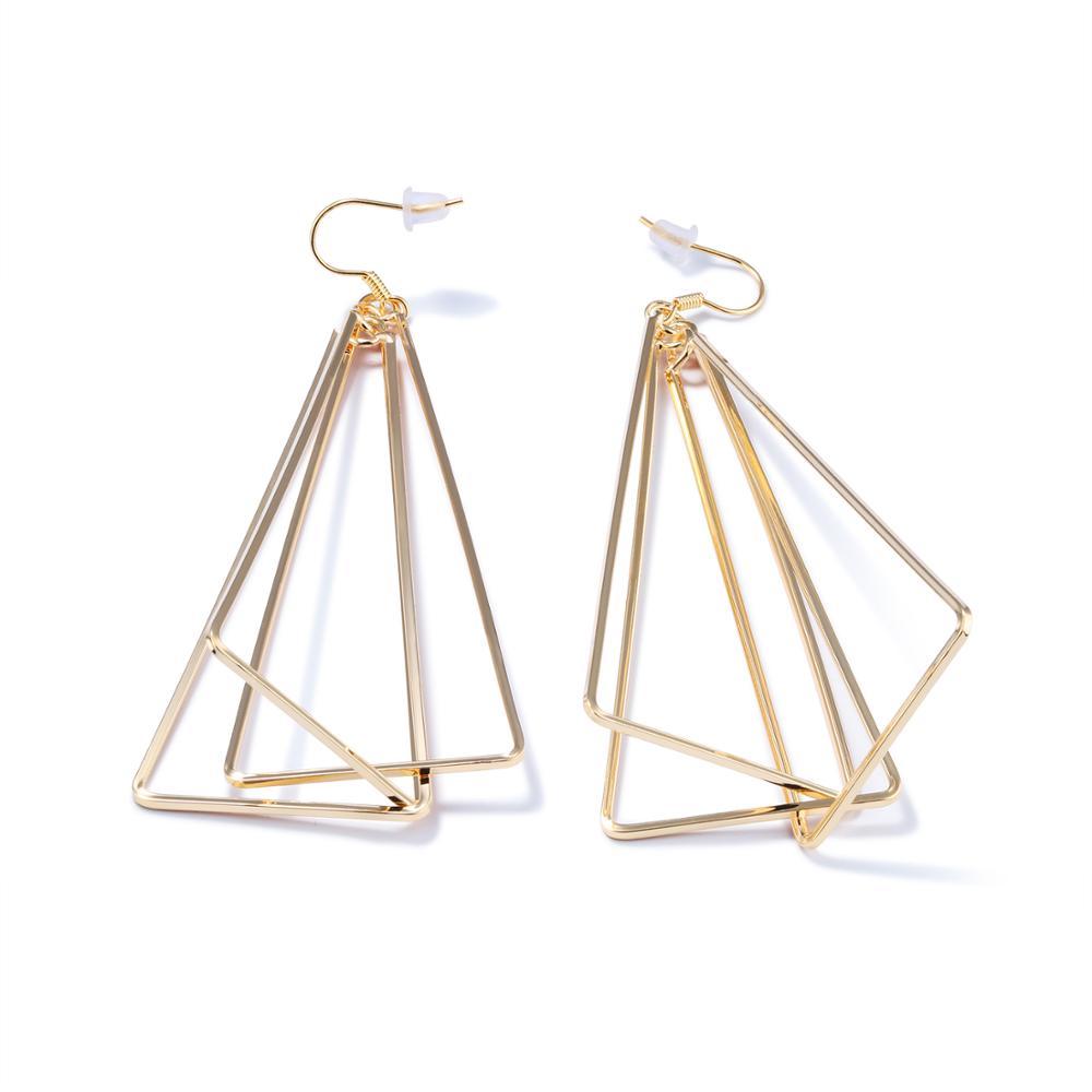 Sleek minimalist exaggerated geometric triangle stud earrings Luxury designer jewellery ladies party earrings Holiday gift KE694