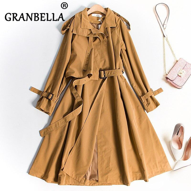 Slender Thin Windshirt Coat Long Dress Casual Women Trench Coat Fashion Full Sleeve Waist Belt Elegant Cute