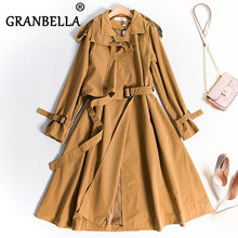 Slender Thin Windshirt Coat Long Dress Casual Women Trench Coat Fashion Full Sle