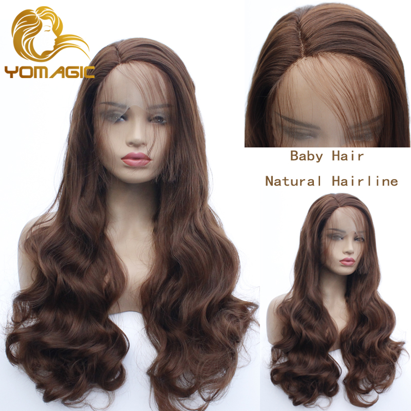 Yomagic Hair Brown Color Lace Front Wigs For Women Long Wavy Synthetic Hair Wigs Affordable Color Wigs With Baby Hair