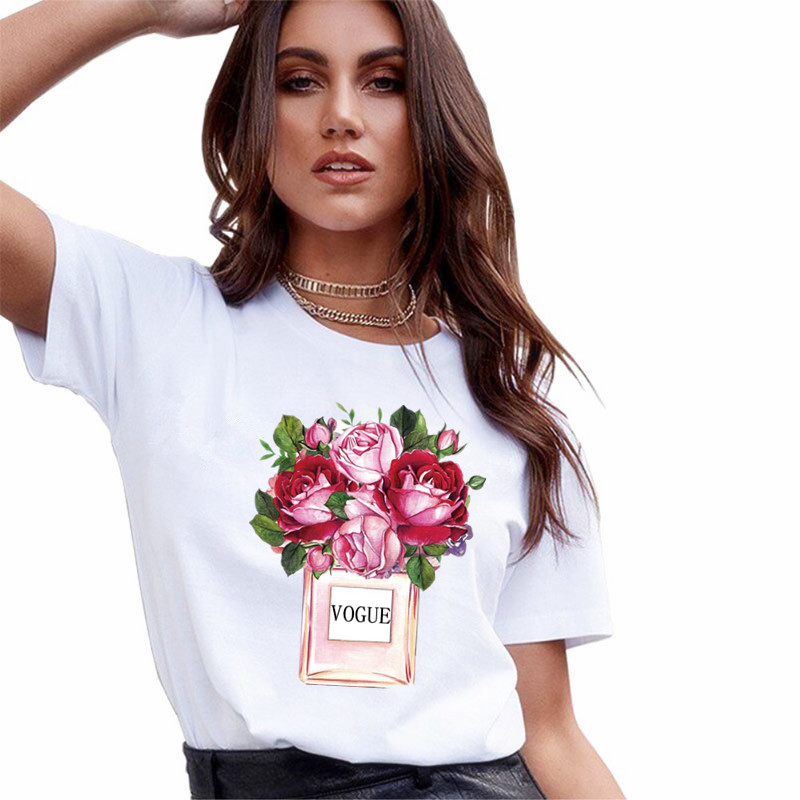 New VOGUE Perfume Vase White T Shirt Women Summer Flower Short Sleeve Lady Tops Tshirt Ladies Women's Graphic Female Tee T Shirt