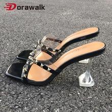 Heel Sandals Strip-Slip Plus-Size Mules Square Toe Gold Sexy Fashion Fetish Rivet Party
