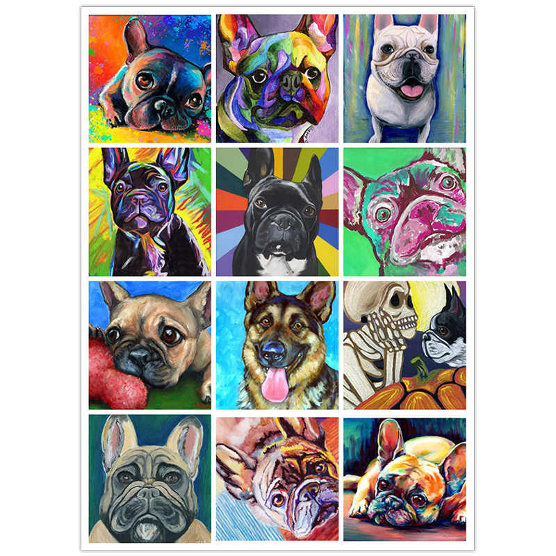 Piazza piena di/diamante rotondo 5D FAI DA TE diamante pittura Francese bulldog 3D ricamo animale set punto croce decorazione a mosaico regalo