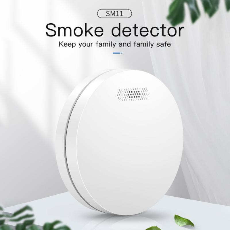 Смарт-детектор дыма Tuya с Wi-Fi, бытовой датчик дыма для домашней системы безопасности, датчик дыма и светильник щения