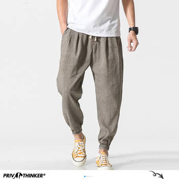Privathinker Cotton Linen Casual Harem Pants Men Joggers Man Summer Trousers Male Chinese Style Baggy Pants