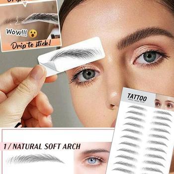 Pegatina para cejas biónica, resistente al agua, auténtica, 4D, maquillaje semipermanente, calcomanía de transferencia de agua, parche para cejas