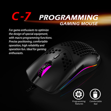 ZELOTES C-7 USB Wired Mouse RGB Gaming Mouse 16000DPI Computer Game Mice Hollowed-out