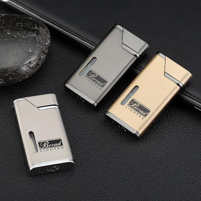 Visible Gas Lighter Metal Turbo Lighters Smoking Accessories Butane Torch Lighter Cigar Cigarettes Lighter Gadgets For Men 6