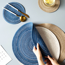 4pc/lot Round Woven Placemats Coaster Waterproof Dining Table Mat Non-Slip Napkin Disc Bowl Pads Cup Coasters Kitchen Decoration