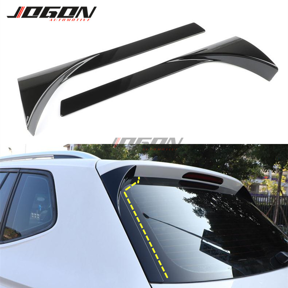 Back Window Rear Spoiler Side Wing Splitter Trim For VW Tiguan MK2 2017 2018 Gloss Black 2pcs image