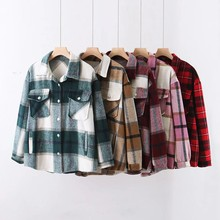 Plaid 2020 Autumn Women Wool Blouse Gothic Checked Oversized Woolen Shirt Thick Ladies Vintage Chic Top Blusas(China)