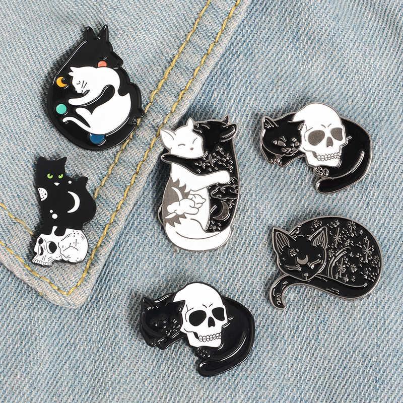 Kucing dan Tengkorak Kerah Pin Logam Punk Romantis Kerangka Bros Lencana Aksesoris Ransel Pin Perhiasan Keren Hadiah untuk Teman