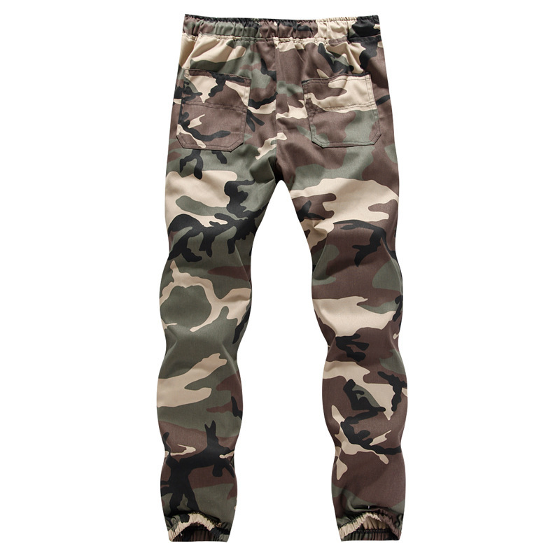 Men's Large Size Camouflage Casual Pants Fashion Man Elastic Waist Beam Leg Trousers Large Cargo