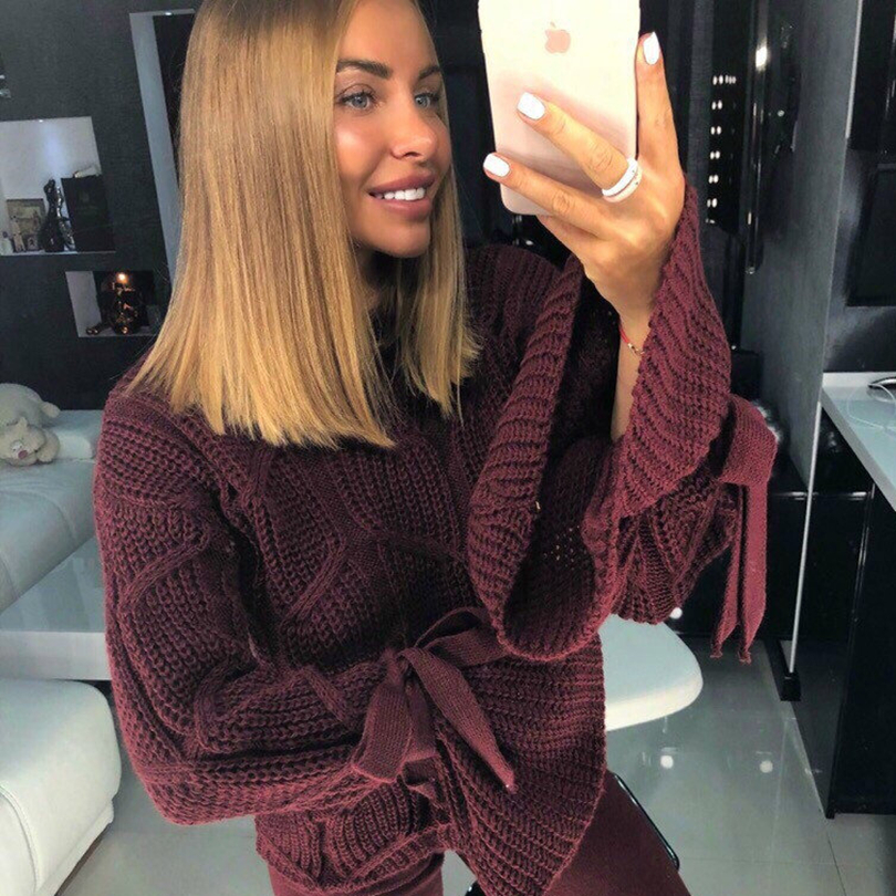 MVGIRLRU Sweater Pullovers Cuff Flare-Sleeve Autumn Women O-Neck Knitting Solid-Color