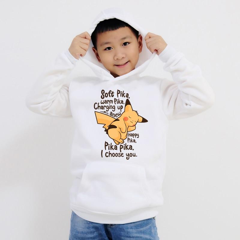Pokemon Pikachu New  Boys Girls Hoodies Clothes Children Winter Thick Sweatshirts Toddler Infant Kids Plus Velvet Tops Costume