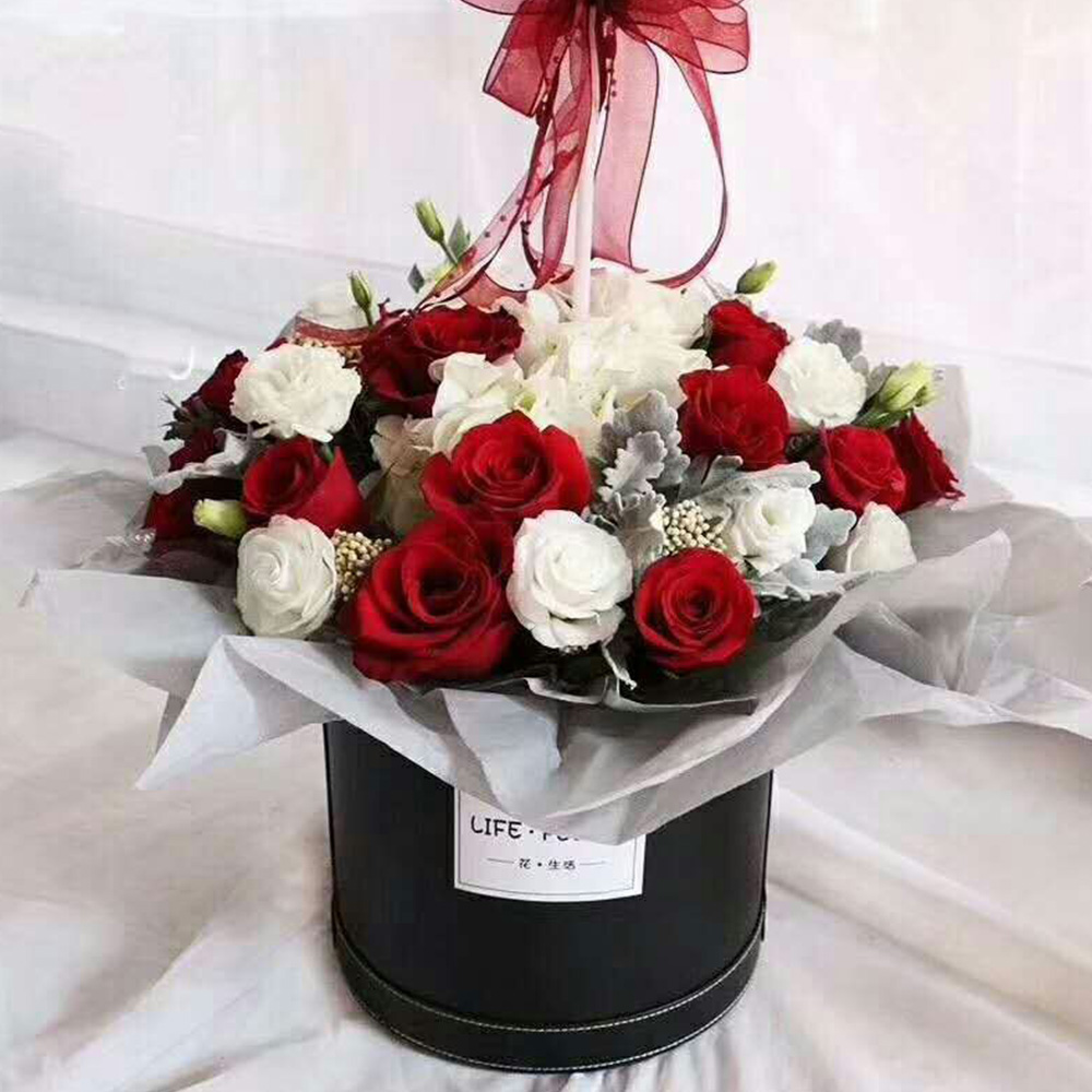 Round Box Flower Bucket With Lid Gift Box Packaging Wedding Box Storage Box Home Decoration Bouquet Holder Flower Round Box