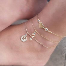 Vintage Antique Gold Color Anklet Women 3 layer Heart key crystal coin Bracelet Charm Bohemian Ankle Bracelet Boho Foot Jewelry(Hong Kong,China)