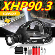 800000LM XHP90.3 LED Headlight XHP90 High Power Head Lamp Torch USB 18650 Rechargeable Head Light Zoom LED Headlamp Dropshipping