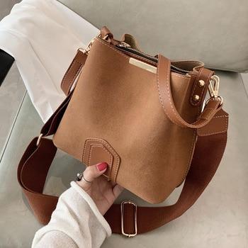 Vintage Scrub Leather Bucket Bags for Women 2021 Trending Designer Crossbody Shoulder Handbags Women's Wide Shoulder Belt Bag 1