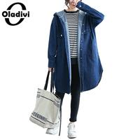 Oladivi Plus Size Women Denim Shirts Fashion Ladies Hooded Trench Coats Casual Jeans Overcoat Autumn Cardigans Female Top Tunics