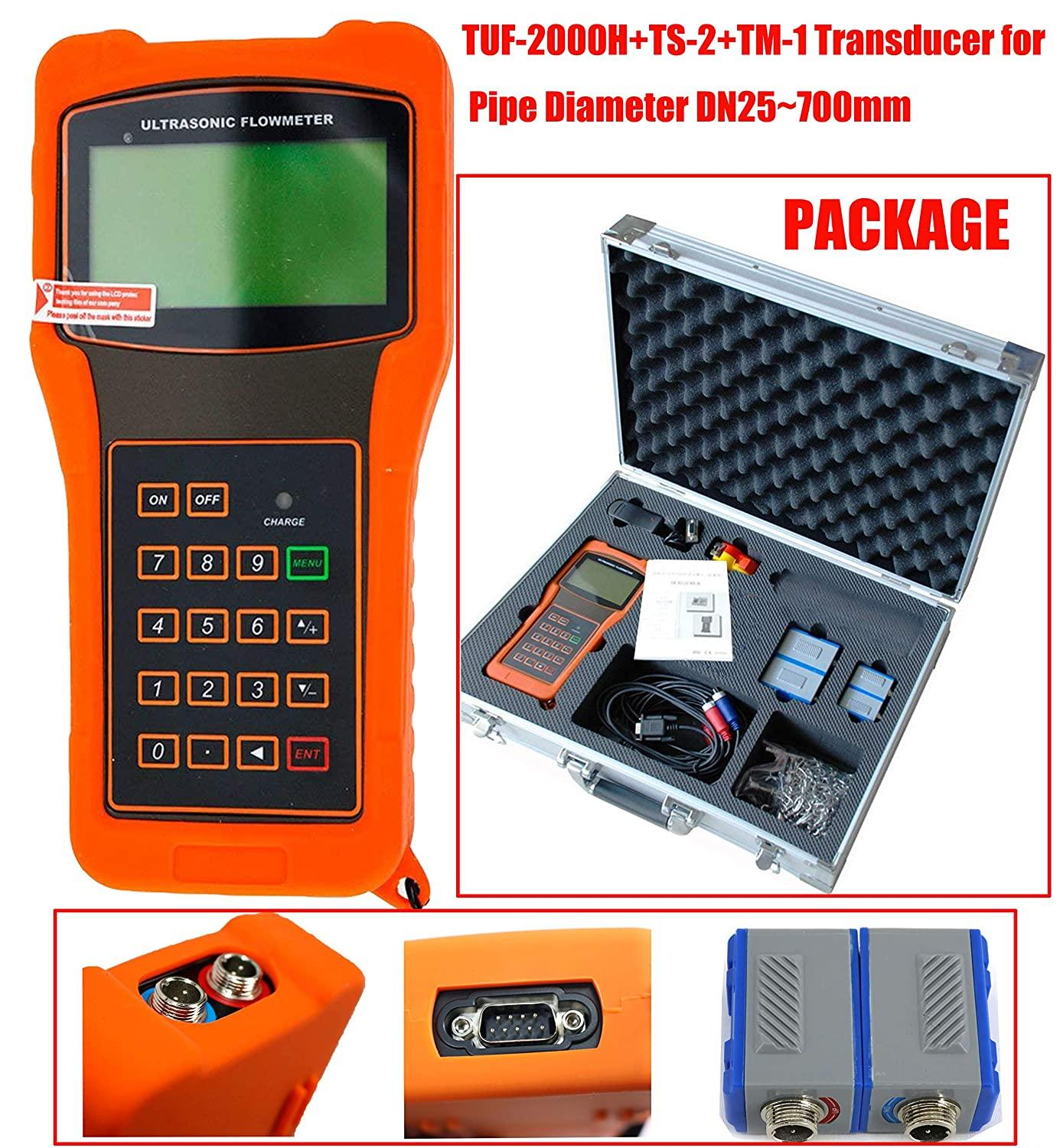 Handheld TUF-2000H Ultrasonic Liquid Flow Meter with DN15-700mm TS-2 TM-1 Transducer Portable Digital lcd Flowmeter
