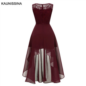 Image 5 - Kaunissina vestidos de cocktail feminino assimétrico chiffon renda banquete vestido de festa sólida volta zíper vestidos de baile