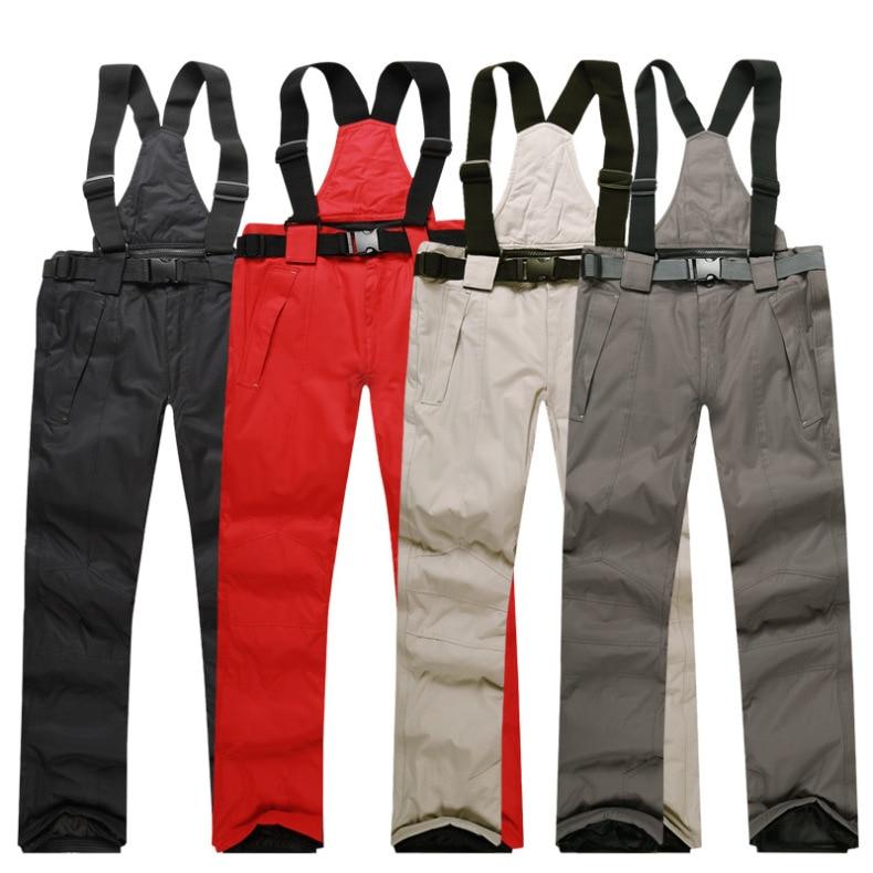 Men Ski Pants 2019 New Warm Outdoor Sports Waterproof Women's Snow Trousers Adult Suspenders Winter Snowboarding Pants