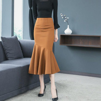 High Waist Woolen Skirts Womens Autumn Winter Streewear Wool Long Mermaid Skirt Office Ladies Bodycon Ruffle Skirt Saia Longa