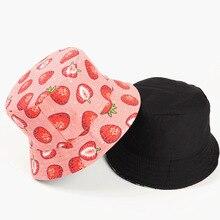 Cotton Strawberry Print Bucket Hat Fisherman Hat Outdoor Travel Hat Sun Cap Hats for Women