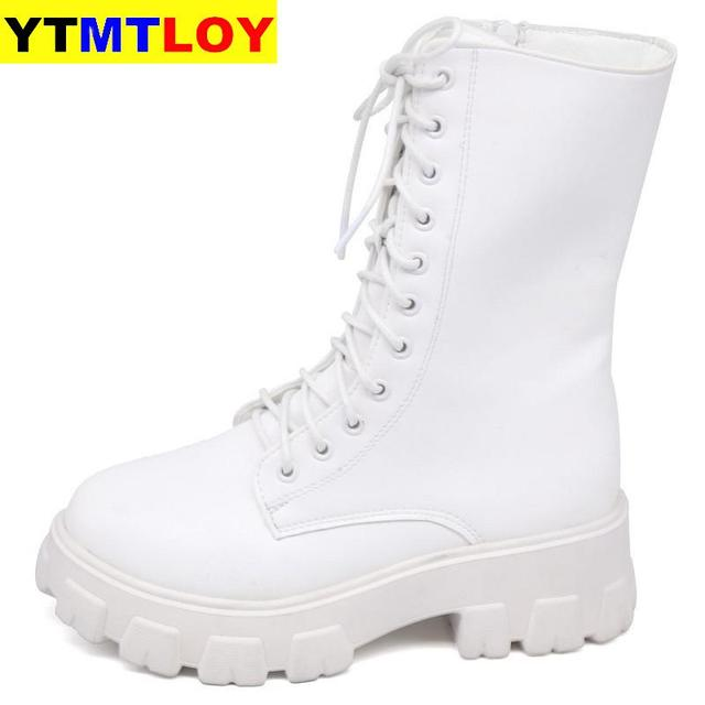 2020 Sping Women White Boots Autumn Fashion Black Leather Platform Gothic Boots Punk Combat Boots for Women