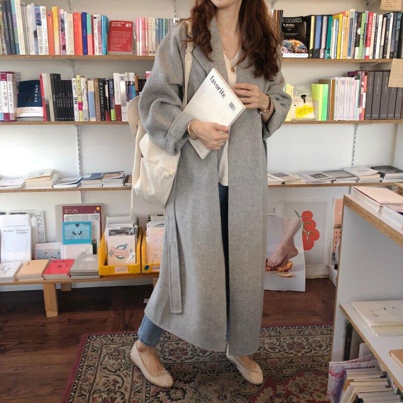 19 Winter Oversize Long Trench Coat Women Cashmere Coat Korean Lady Windbreaker Outwear Streetwear 39
