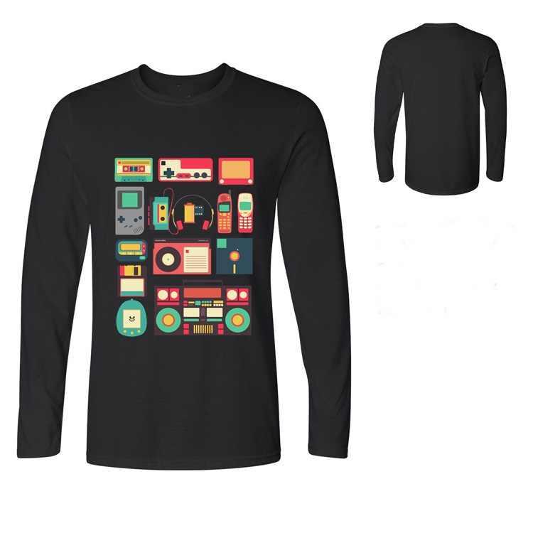 Música Techno camiseta diseño hombres camisetas tecnología RETRO hombres de manga larga de algodón camiseta niño Skateboard street tops Tee