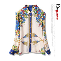 New with western style restoring ancient ways take mulberry silk blouse long sleeve shirts
