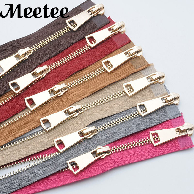 1Pc Lightgold Open-end Metal Zippers 120cm 5# A Coudre Double Sliders Zipper For Sewing Down Jacket Coat Zips Accessories A3-11