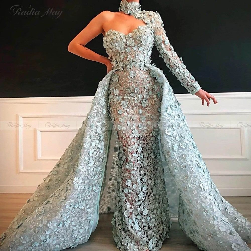 Arabic One Shoulder Mermaid 3D Floral Evening Dress With Detachable Skirt Long Sleeves High Neck Dubai Formal Prom Dresses 2020