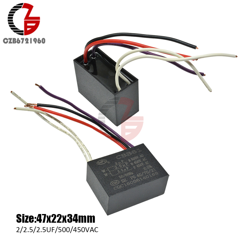 CBB61 250V 3.5UF+1.2UF Ceiling Fan Motor Running Starting Capacitor