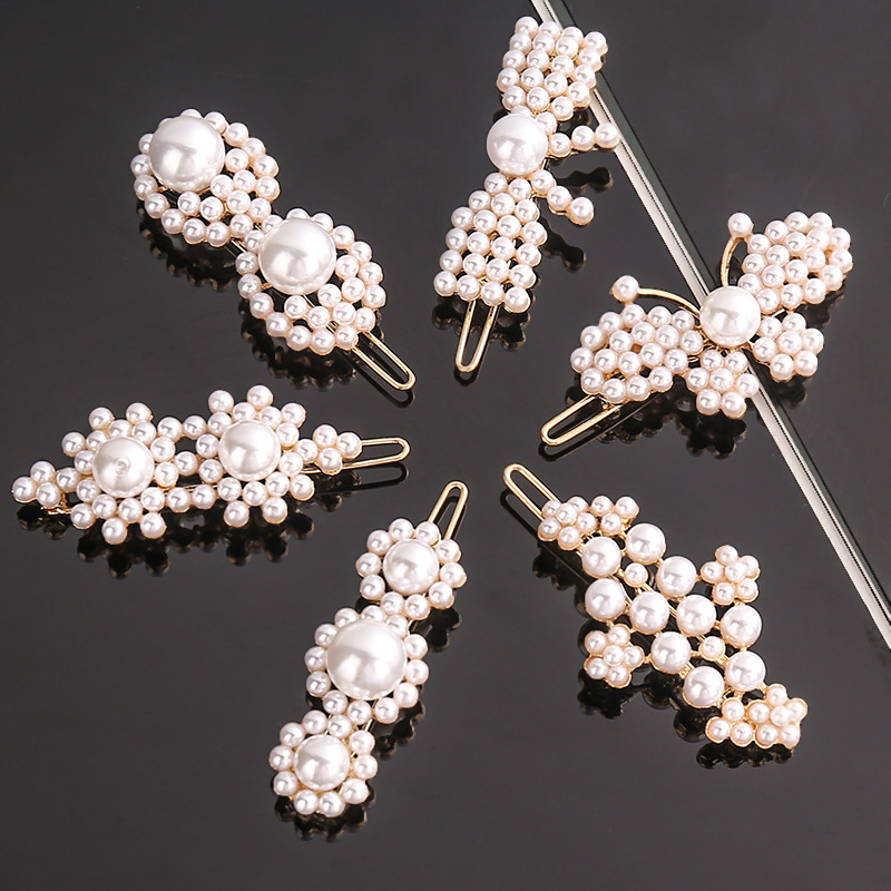 2019 New Fashion Pearl Hair Clip For Women Flower Butterfly Hairpin Frog Clip Korean Design Barrette Hair Styling Accessories