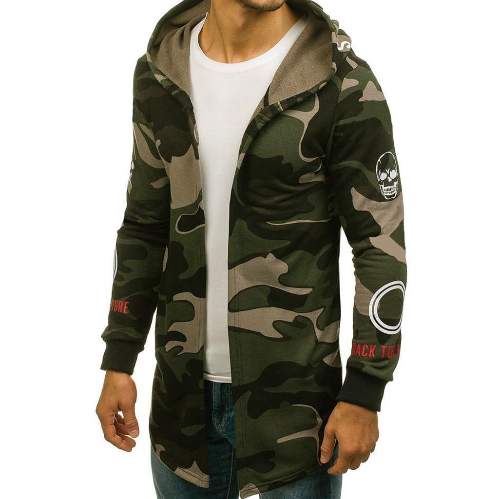 Sweatshirt Outwear Cardigan Trench-Coat Hooded Jacket Long-Sleeve D90808 Men Camouflage