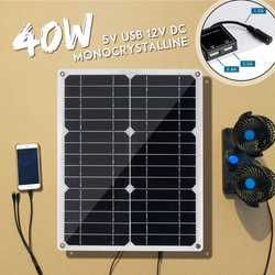 40W 18V Mono panel słoneczny podwójny 12 V/5 V DC USB monokrystaliczny elastyczny ładowarka do samochodu RV łodzi z 10/20/30A kontroler