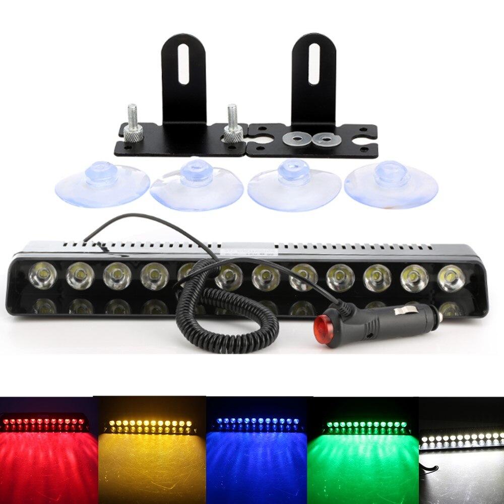 1pc 12 LED Strobe Light Car Emergency Bar Police Warning Flash Visor Deck Dash Lamp Windshield White Red Yellow Green Blue