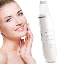 Oplaadbare Ultrasone Ion Gezicht Huid Scrubber Facial Cleaner Reiniging Spatel Peeling Trillingen Mee eter Verwijderen Exfoliërende