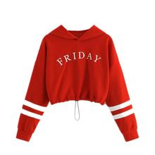 Baby Girl Clothes New Teen Kids Cute Baby Letter Stripe Print Hooded Sweatshirts Pullover Long Sleeve Tops Children's SWeatshirt недорого