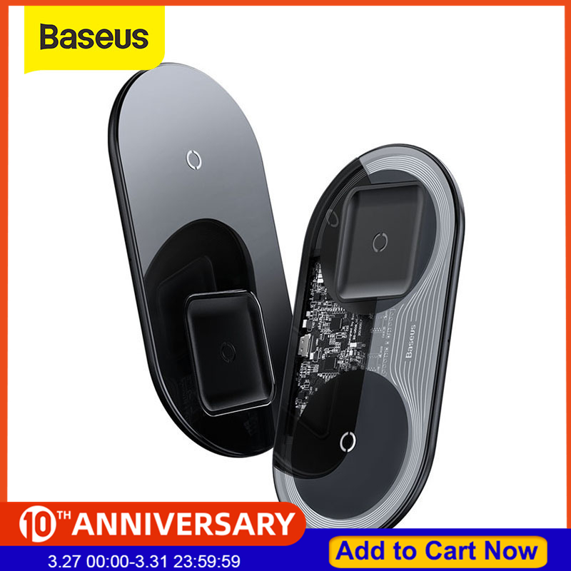 Baseus 2 In 1 Qi Wireless Charger For IPhone 11 Pro X XS XR Samsung S10 S9 Phone For Airpods Pro 15W Fast Wireless Charging Pad