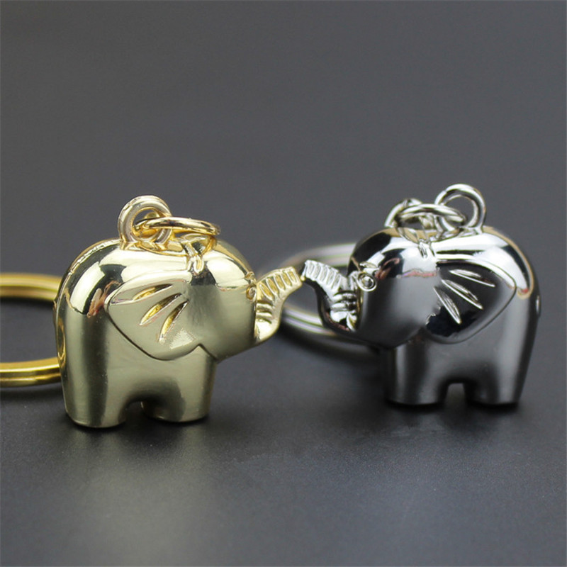 Fashion Lovely Pet Keychain Elephant Keyrings Silver Gold Alloy Key Chains Party Souvenir Gifts For Women Portachiavi Donna
