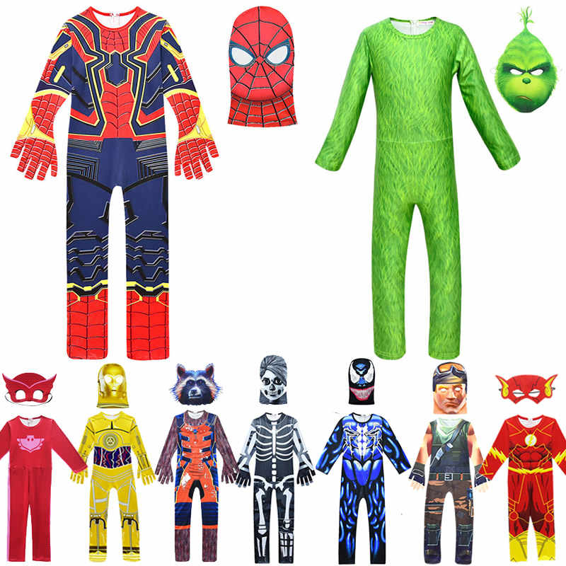 Disfraces de Halloween para niños niñas Spider Man Dress Up Onesies The Grinch Navidad Cosplay Jumpsuit Amaya G