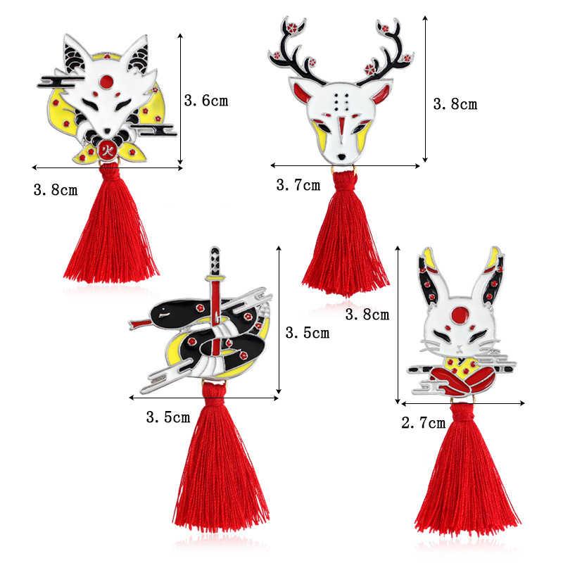 Emalia sweter czerwony wąż Tassel 1PC wdzięku Sika zwierząt królik Fox jelenie długi plecak odznaka przyjaciół prezenty Kendo broszka